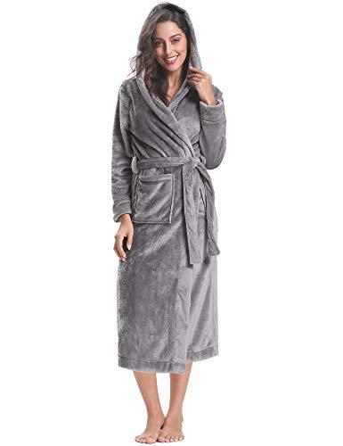 Aibrou Peignoir Femme Velours Robe de Chambre Polaire Chaud Long Flanelle Peignoir de Bain Homme Eponge Hiver Longu
