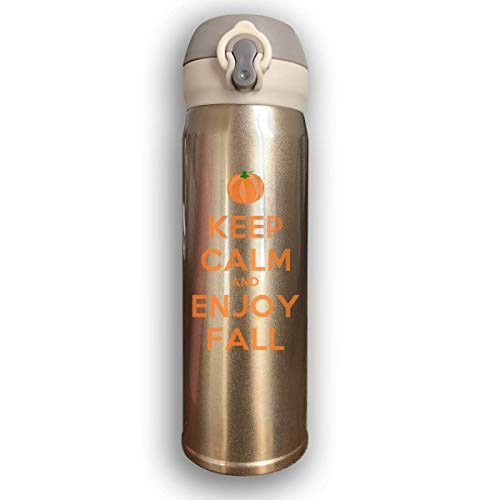 Sport-Trinkflasche, Reisebecher-Vakuumflasche, Stainless Water Bottle Thermal Insulated Cup With Bounce Cover Designed Keep Calm and Enjoy Fall Happy Thanks,17 Oz Cup-fall-pack