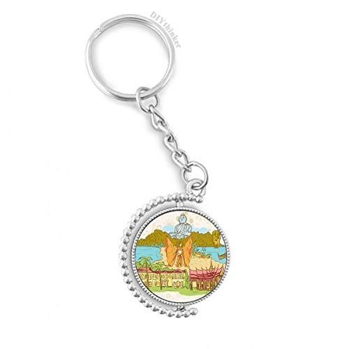 DIYthinker Buddhismus Religion Buddhist Temple Zeichen Drehbare Schlüsselanhänger Ringe 1.2 Zoll x 3.5 Zoll Mehrfarbig