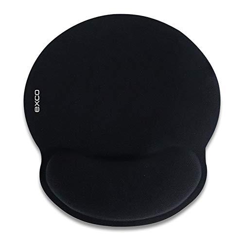 d Mauspad schwarz 230 * 253mm mit Handgelenkstütze, rutschfeste Gummi-Basis-Handgelenkauflage, einfach zu tippen, Büro Schmerzen lindern ()