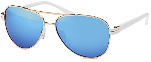 Balinco 17 Modelle Damen Pilotenbrille Sonnenbrille 70er Jahre Sunglasses Fliegerbrille (Weiß-Blau)