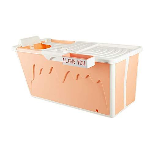 MY1MEY Faltbarer Badetonne, Erwachsene Haushalt Verdickung Badetonne, Tragbare Badewanne, Abnehmbare Isolationsabdeckung, TPE + PP, 3 Farben, 120x53x63cm (Farbe: Orange)