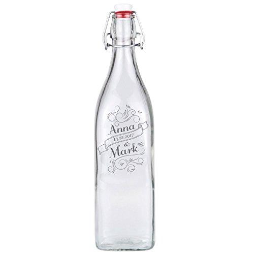 Glasflasche Swing Flasche Deko Geschenk mit individueller Gravur 1000 ml