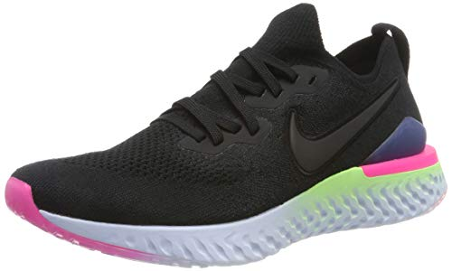 Nike Herren Epic React Flyknit 2 Laufschuhe, Schwarz Black-Sapphire-Lime Blas 003, 42 2/3 EU