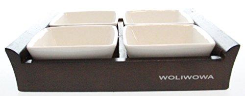 Woliwowa Justnile in ceramica,  pezzi, set di  ciotole con vassoio-Vassoio in legno scuro