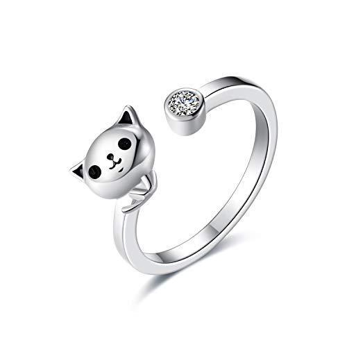 Einstellbare Katze Ringe für Frauen Teen Girls Sterling Silber Offene Größe Tier Katzen Ringe Schmuck Geschenk Größe 5-9