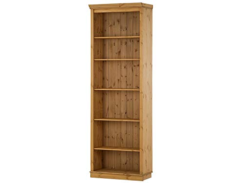 Loft24 Bücherregal Kiefer Massivholz Regal Landhaus Büroregal Standregal Aktenregal Ordnerregal 6 Fächer gebeizt geölt (1 Regal, 74 x 34 x 219 cm) -