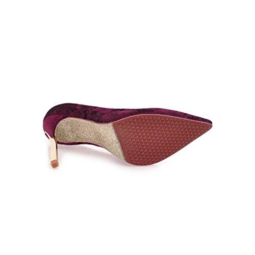 Donna Sexy Stiletto alto Tacchi Scarpe scamosciato Chiuso appuntito Dito del piede pompe Lavoro Inteligente Vestito Dimensione 35-42 Red