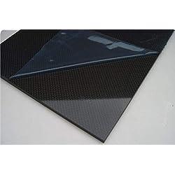 Plaque composite 100% fibre de carbone 1x300x200 toile 1x1 brillant