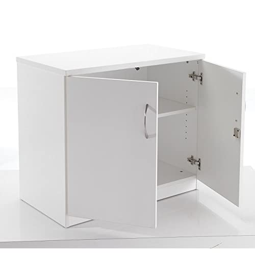 BiMi White Desk High Cupboard, Lockable Double Doors 2 Shelf – Office Cupboard