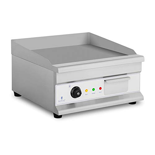 Royal Catering Plancha Grill Électrique RCG-50HB (50x40 cm, 1 Zone, Lisse, 3200 W, 50-300°C, Thermostat, Protecteur Thermique)