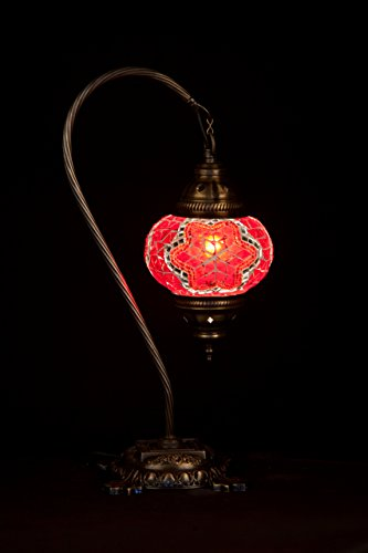 Handmade Turkish Lamp Moroccan Ottoman Style Mosaic Swan Neck Desk Table Light Bedroom Restaurant Cafe Decoration Lamp (Red)