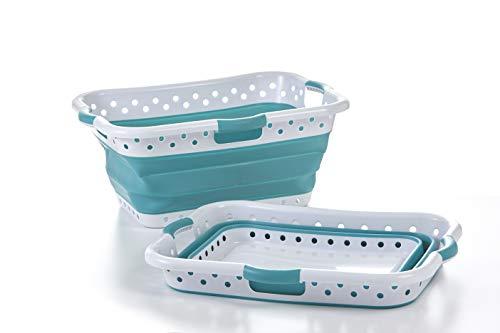 Pop & Load Wäschekorb, zusammenklappbar, sehr schlank Large Hip-Holder - 3 Handles blaugrün