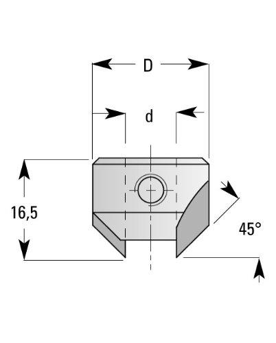 ENT AVELLANADOR HW  DIAMETRO (D) 8 MM  A 18 MM  E 45°  ROTACION HACIA LA DERECHA
