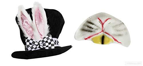 onderland Kaninchenhut für Erwachsene, mit großen Ohren und aufgesetzter Schleife und Kaninchennase, perfekt für Schule, Buchwoche, Weltbuch-Tag, Kostüm, Zubehör ()