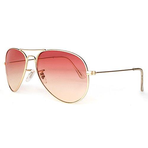 DISTRESSED Flat Aviator Pilotenbrille Sonnenbrille Fliegerbrille 2250 - rot/gelb Verlauf