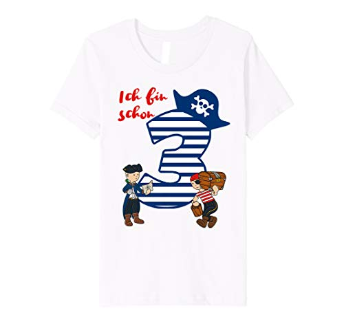 Kinder T-Shirt Geburtstag 3 Jahre Junge Pirat Ich bin schon ()