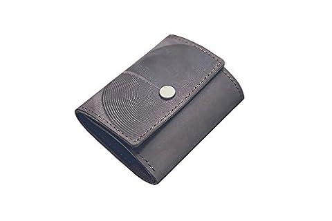 Portefeuille en cuir pour hommes femmes. Portefeuille minimaliste, caisse d'argent. Bourse (grey)
