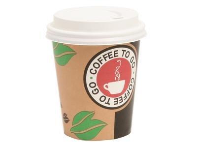 200 Kaffeebecher 8 oz für 200 ml Coffee to Go Pappbecher 0,2 ltr Cappuccinobecher mit weißem Deckel mit Trinköffnung