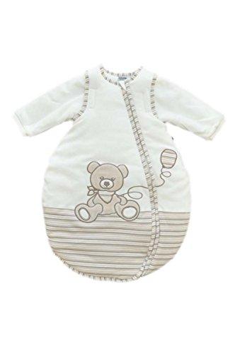 Jacky Mädchen und Jungen Baby Ganzjahres Schlafsack Langarm, 100% Baumwolle, Off White/Ringelstreifen, Gr. 50/56, 350013