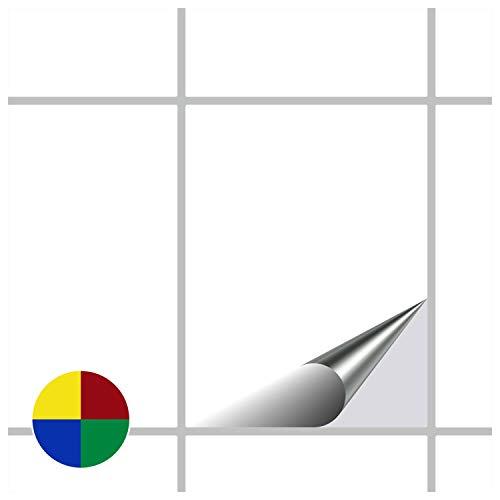 FoLIESEN Fliesenaufkleber Küche u. Bad-15x20 cm matt-375, PVC, Weiß matt, 375 Stück, 375-Einheiten