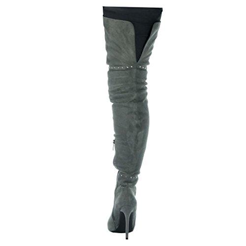 Angkorly - Scarpe da Moda Stivali Alti stiletto sexy cavalier donna borchiati Tacco Stiletto tacco alto 11 CM Grigio