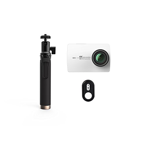 YI 4K Cámara de Acción con Palo Selfie & Control Remoto Bluetooth y 32G tarjeta de memoria incluida (Version EU) (Blanco)