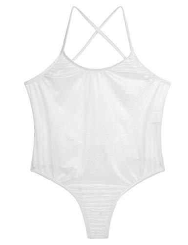 Agoky Damen Basic Bodys Rückenfrei Tiefer Ausschnitt Trägertop Frauen Durchsichtig Nachtwäsche Leotard Trikots Weiß One Size - 4