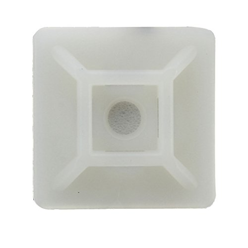 Preisvergleich Produktbild Klebesockel - TOOGOO(R)100x Kabelbinder Klebesockel Sockel Binder selbstklebend Kabelhalter Neu 19X19mm Weiss