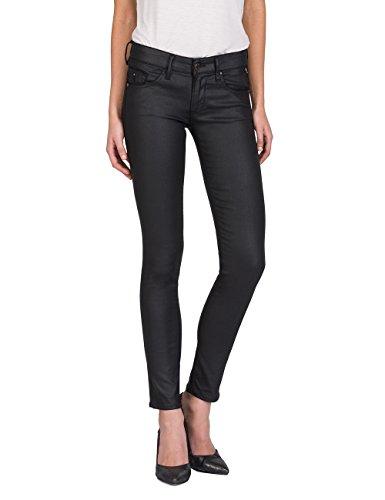 Replay Damen Skinny Jeans LUZ Back Zip, Schwarz (Black Denim 7), W27/L32