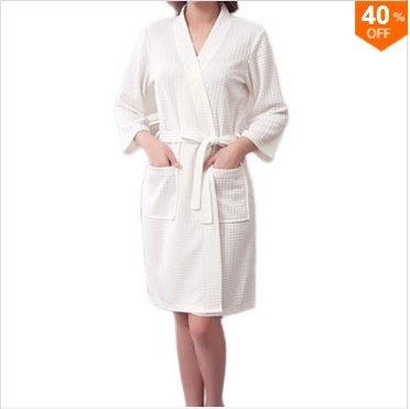 Bluelover Bx-987 Handtuch Bademantel Kleid Unisex Männer Frauen Solid Cotton Waffel Schlaf Lounge - Weiß - M