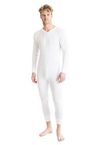 OCTAVE® Herren Thermo-Unterwäsche All in One Union Anzug mit Reißverschluss hinten Lasche weiß