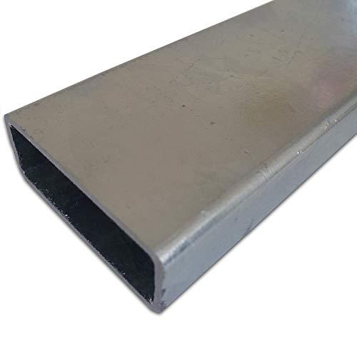 B&T Metall Stahl VERZINKT Rechteckrohr 60 x 40 x 2,0 mm in Längen à 500 mm +0/-5 mm Flachkantrohr ST37 schwarz roh Hohlprofil RohStahl VERZINKT