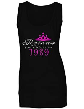 Reinas son nacidas en 1989 camiseta sin mangas mujer qq2ft