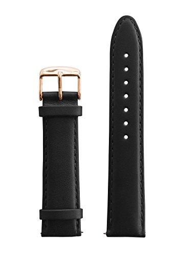 BULLAZO Wechselarmband mit Schnellwechselfunktion, 20 mm, Leder, Schwarz Roségold