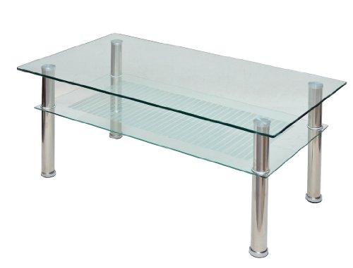 Ts-ideen table basse 110 x 60 cm en acier inoxydable et verre de sécurité eSG 10 mm
