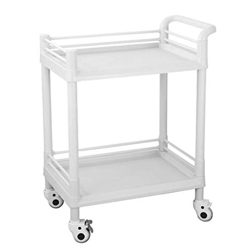 Service Cart 2 Regal ABS Utility, Medical Trolley, Beauty Friseuraufbewahrung Rollwagen (80 Kg Kapazität) (Color : S(54 * 37 * 90cm)) -