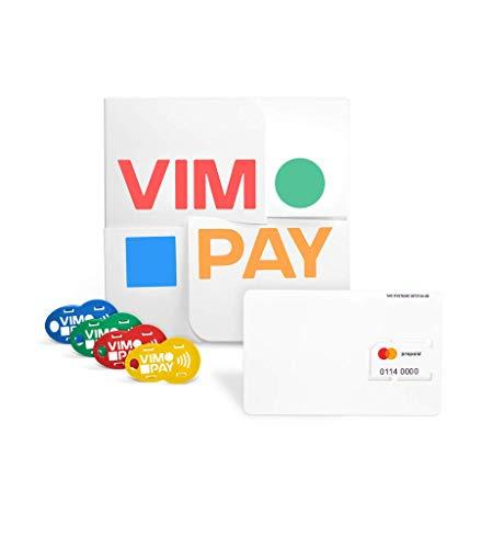 VIMpayGo V2: Bunte NFC-Schlüsselanhänger für EIN bargeldloses Leben I Micro MasterCard mit Vier Schlüsselanhängern mit integriertem Einkaufswagenlöser -