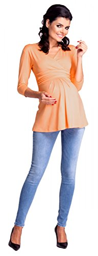 Zeta Ville - Maternité top double couches grossesse d'allaitement - femme - 945c Abricot