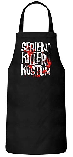 (ShirtStreet Fasching Karneval Gruppen Frauen Herren Barbecue Baumwoll Grillschürze Kochschürze Serien Killer Kostüm, Größe: OneSize,Schwarz)