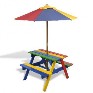 2 In 1 Kids Picnic Table & Benches In Rainbow Colour With Parasol - Surely Your Young Ones Will Love This Garden Set Collection By eCommerce Excellence