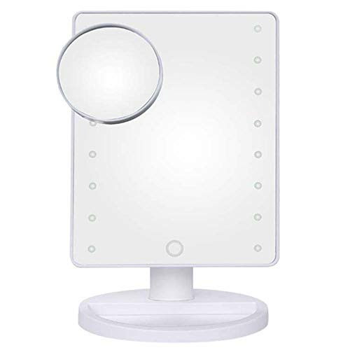 Lxc Desktop-Touch-Sensor LED-Schminkspiegel Mit 10x Saugnapf-Lupe Mit LED-Lichtspiegel Erstellen Sie Ihren eigenen privaten Raum (Farbe : White)