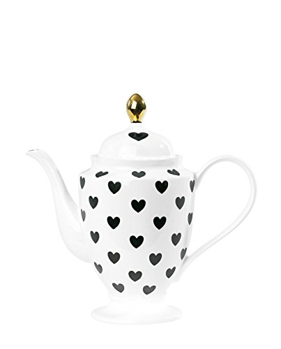Tea/Coffee Pot W/Hearts Black H: 26,5