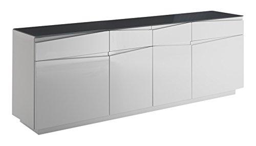 Cavadore Kommodenschrank Sharpcut-Living in Hochglanz Weiß foliertem Holz / Extra viel Stauraum / Glasauflage in Graphit-Optik / 42 x 199 x 71 cm (T x B x H)