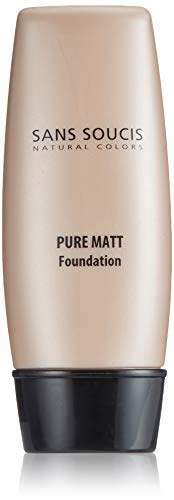 Sans Soucis Pure Matt Foundation für ölige, unreine und Mischhaut: Pflegendes Make-up mit Vitamin E und Thermalwasser für einen mattierten und ebenmäßigen Teint, Nr. 10 Light Beige
