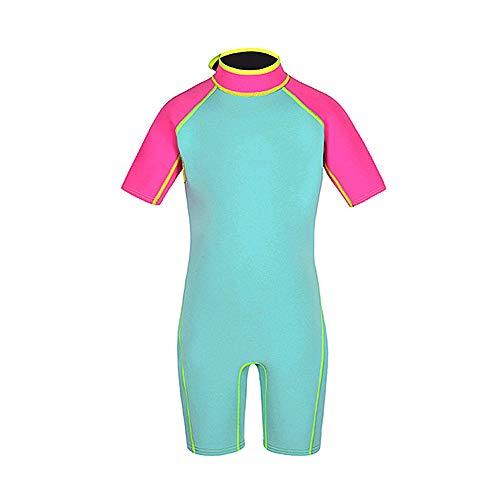 Mitrc Kinder Neoprenanzug 2 Mm, Schnelltrocknender Neopren-Kurzarm-Jugend-Shorty-Neoprenanzug Für Mädchen, Jungen, Kinder Und Wassersportler,Pink,XXXXL -