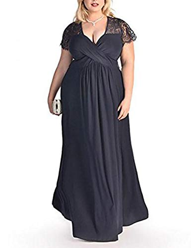 FeelinGirl Damen Plus Size Große Größen Elegantes Langes Spitzenkleid Cocktailkleid Abendkleid Hochzeit Brautkleid mit Kurz Ärmel O-Ausschnitt Blumensptizen,Dunkelblau,XL (EU 54-56)