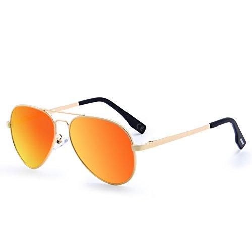 Modell Spiele (AMZTM Klassisch Polarisiert Pilotenbrille Für Kinder Metallrahmen Verspiegelt Linse Draussen Sport Aviator Sonnenbrille 100% UV400 Schutz Cool Mädchen/Jungen Must-Have (Eltern-Kind-Modelle) (Orange Rot))