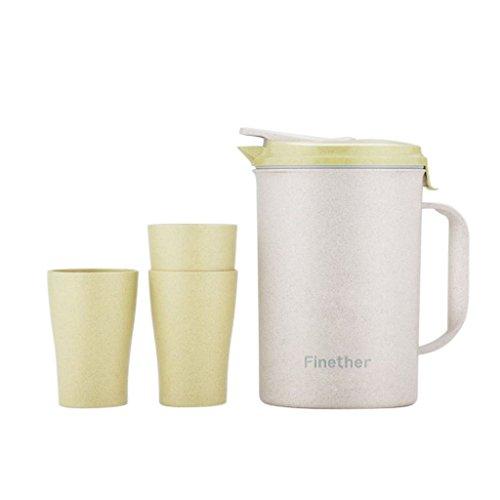 Finether-Jarra-para-Agua-4-Piezas-Un-Jarro-3-Vasos-Material-de-la-Paja-de-Trigo-Ecolgico-Sano-Conveniente-Seguro-Verde