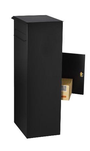MEFA Paketpostkasten Oak (481) Tiefschwarz Struktur RAL 9005 Standbriefkasten Briefe +Pakete Entnahme hinten Sicherheitsschloß